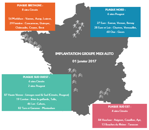 carte implantation sites Midi Auto